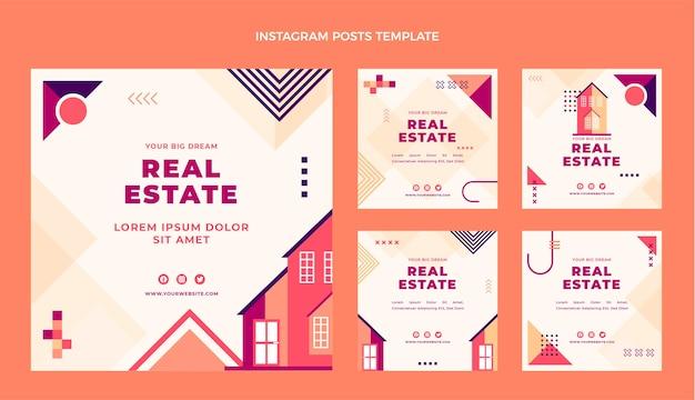 Flaches design des geometrischen immobilien-instagram-posts