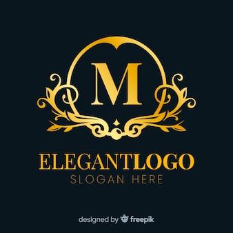 Flaches design des goldenen eleganten logos