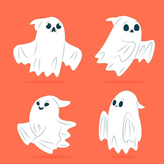 Flaches design des halloween-geister-sets