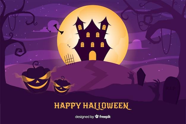 Flaches design des halloween-geisterhaushintergrundes