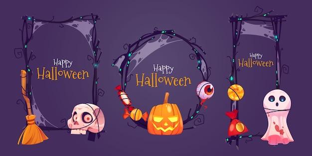 Flaches design des halloween-halloween-rahmens