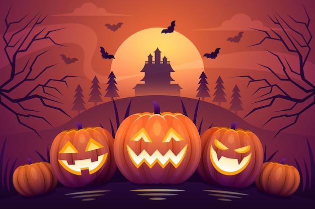 Flaches design des halloween-hintergrunds