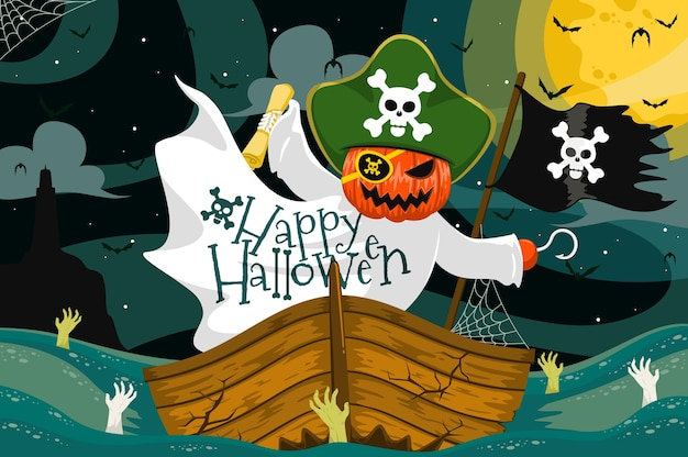 Flaches design des halloween-pumpkind-piratenhintergrunds