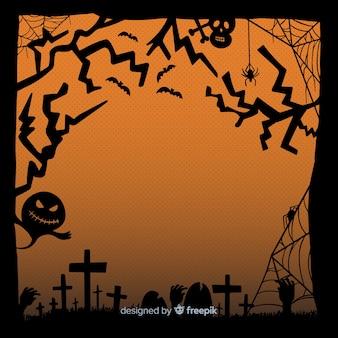 Flaches design des halloween-rahmens