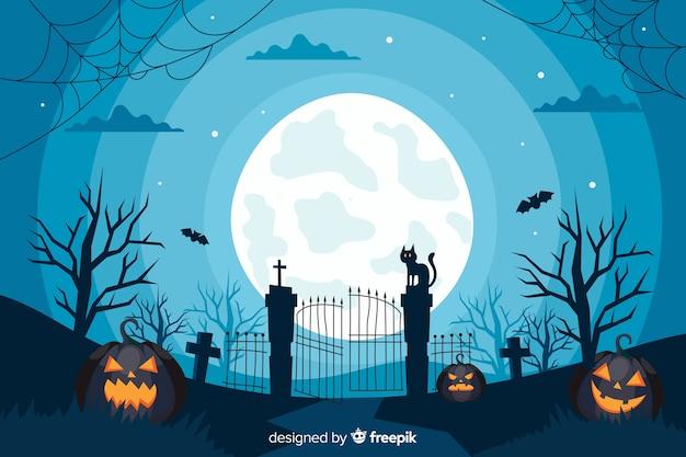 Flaches design des halloween-torhintergrundes