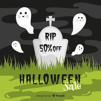 Flaches design des halloween-verkaufs