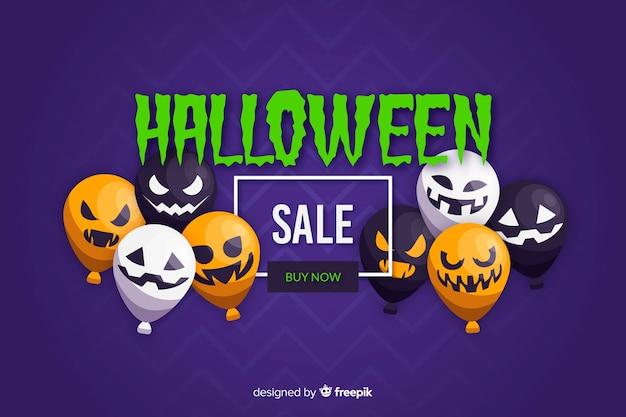 Flaches design des halloween-verkaufshintergrundes mit ballonen