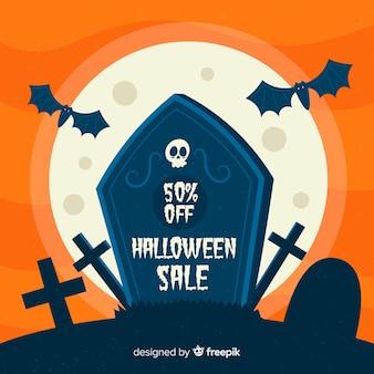 Flaches design des halloween-verkaufshintergrundes