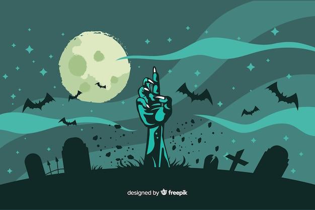 Flaches design des halloween-zombiehandhintergrundes