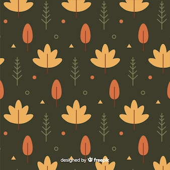 Flaches design des herbstlaubmusters