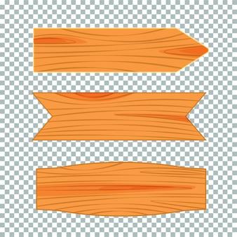 Flaches design des hölzernen straßenschildes. leeres schild des holzes, planke und plakette lokalisiert auf transparentem hintergrund. illustration.