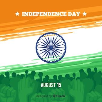 Flaches design des indien-unabhängigkeitstaghintergrundes