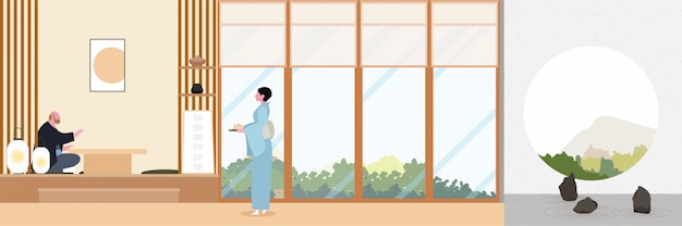 Flaches design des japan-zen-wohnzimmers