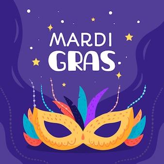 Flaches design des karnevals mit maske unter dem sternenklaren himmel