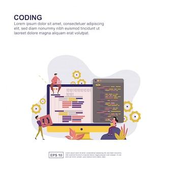 Flaches design des kodierungskonzeptes für darstellung.