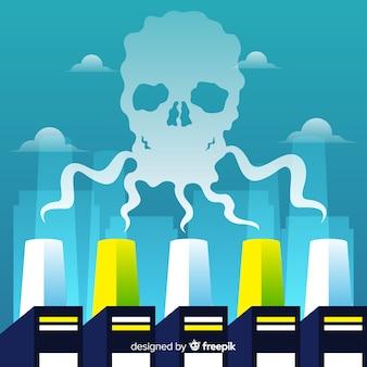Flaches design des kontaminierenden rauchhintergrundes