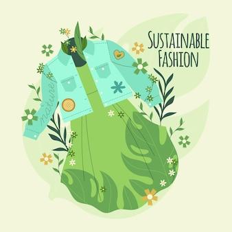 Flaches design des konzepts der recycelten kleidung