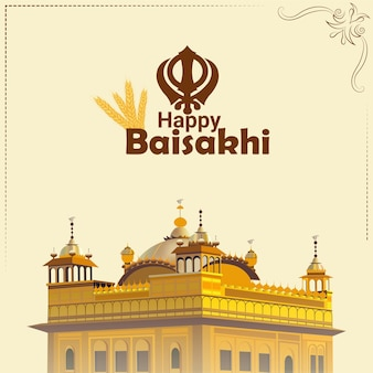 Flaches design des kreativen goldenen tempels der glücklichen vaisakhi-illustration