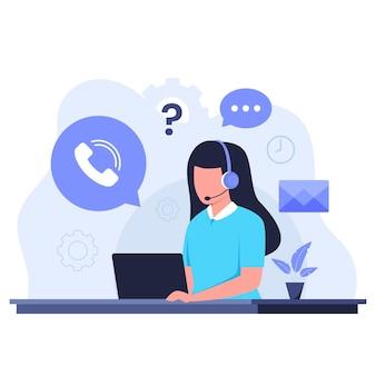 Flaches design des kundenbetreuungskonzepts. illustration für websites, landing pages, mobile anwendungen, poster und banner
