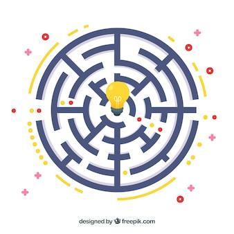 Flaches design des labyrinthgeschäftsideenkonzept-vektors