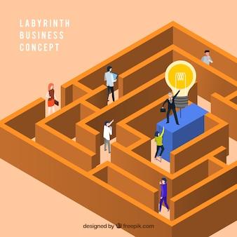 Flaches design des labyrinthgeschäftskonzept-vektors