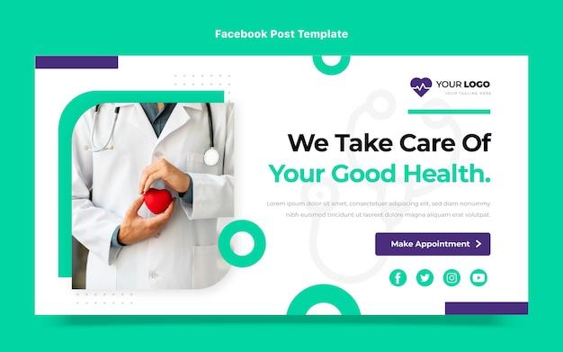 Flaches design des medizinischen facebook-posts