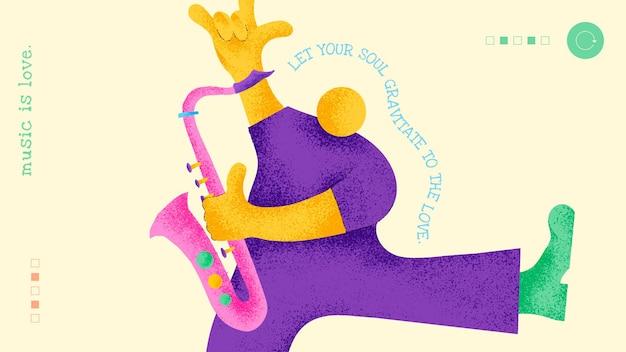 Flaches design des musikerfahnenschablonenvektors mit inspirierendem musikalischem zitat