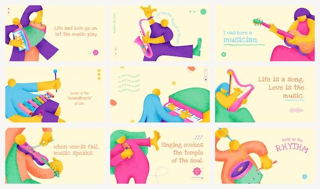 Flaches design des musikerfahnenschablonenvektors mit inspirierendem musikalischem zitatsatz