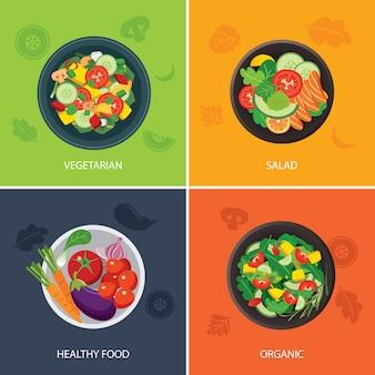 Flaches design des nahrungsnetzbanners. vegetarisch, bio-lebensmittel, gesunde lebensmittel