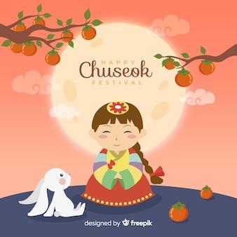 Flaches design des netten mädchens einen hanbok für chuseok tragend