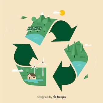 Flaches design des ökologiekonzept-hintergrundes