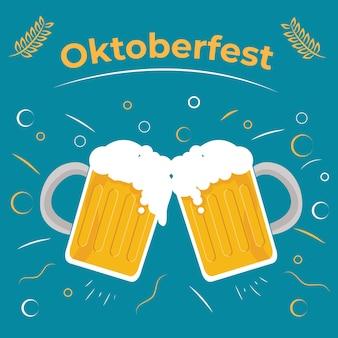 Flaches design des oktoberfest- und partyzeitkonzepts