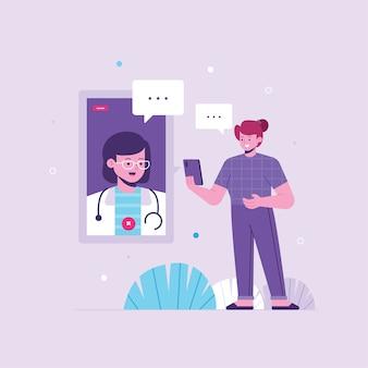 Flaches design des online-arztkonzepts
