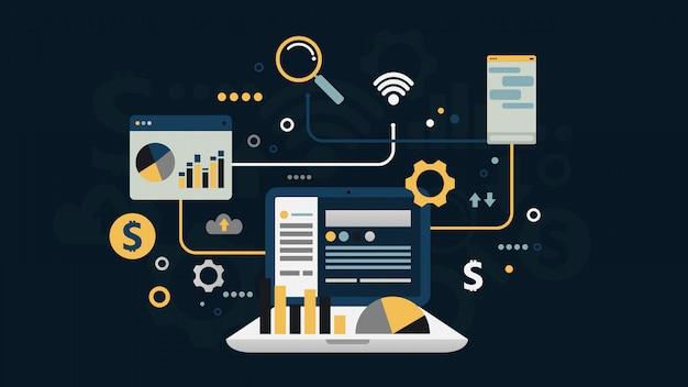 Flaches design des online-business-sozialnetzes