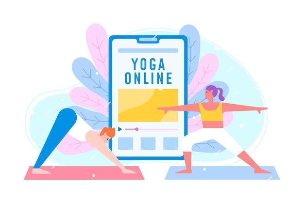 Flaches design des online-yoga-klassenkonzepts