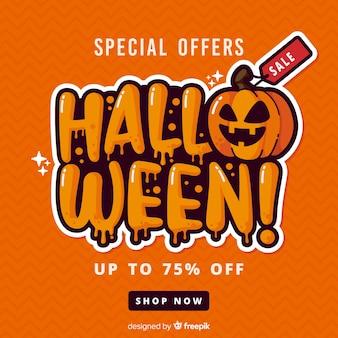 Flaches design des orange halloween-verkaufs