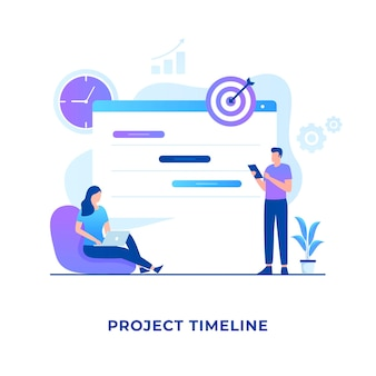 Flaches design des projektzeitleistenkonzepts. illustration für websites, landing pages, mobile anwendungen, poster und banner