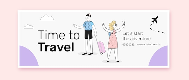 Flaches design des reise-facebook-cover