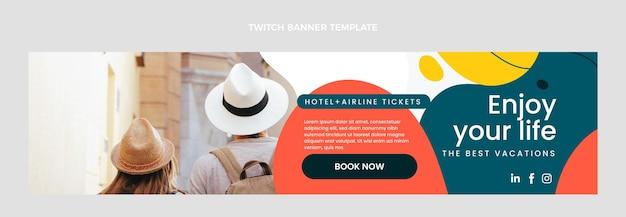 Flaches design des reise-twitch-banners