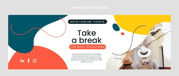 Flaches design des reise-twitter-headers