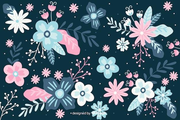 Flaches design des schönen blumenhintergrundes