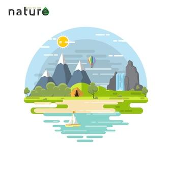 Flaches design des sommerferienreise-naturlandschafts-konzeptes