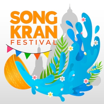 Flaches design des songkran festivals
