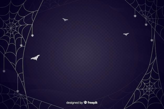 Flaches design des spinnennetz-halloween-hintergrundes