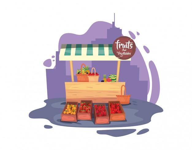 Flaches design des straßenmarkthandels