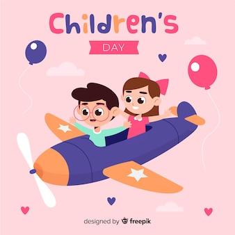 Flaches design des tages der kinder mit kindern auf einem flugzeug