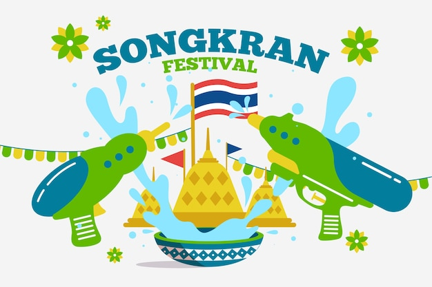 Flaches design des thailand songkran festivals