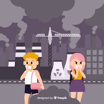 Flaches design des verschmutzungskonzept-hintergrundes