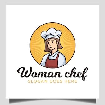 Flaches design des weiblichen chefmaskottchens, das für restaurantessen mit abzeichenemblemartgeschäftslogo kocht