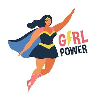 Flaches design des weiblichen superhelden im comic-kostüm. mädchen-power-konzept